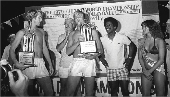 A Young Sinjin Smith and Karch Kiraly Winning on the Beach